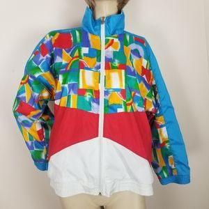 Vintage bright color blocked windbreaker jacket